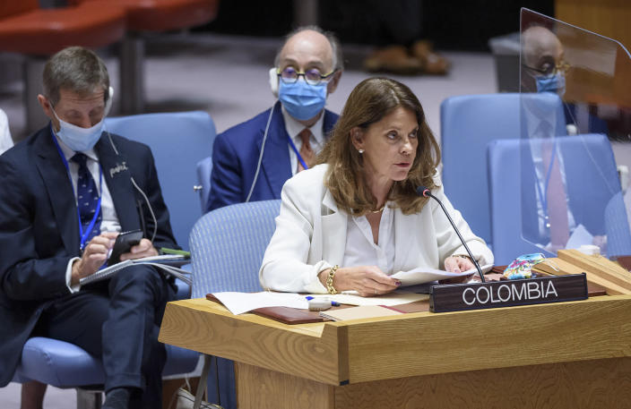 Marta Lucía Ramirez, Vice-President and Minister for Foreign Affairs of the Republic of Colombia, addresses the Security Council meeting on the situation in Colombia, Tuesday, July 13, 2021 at the United Nations. (Loey Felipe/UN Photo via AP)