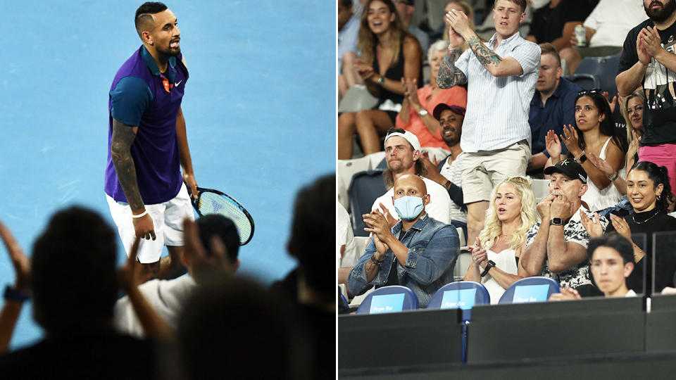 Nick Kyrgios, pictured here being cheered on by fans at the Australian Open.
