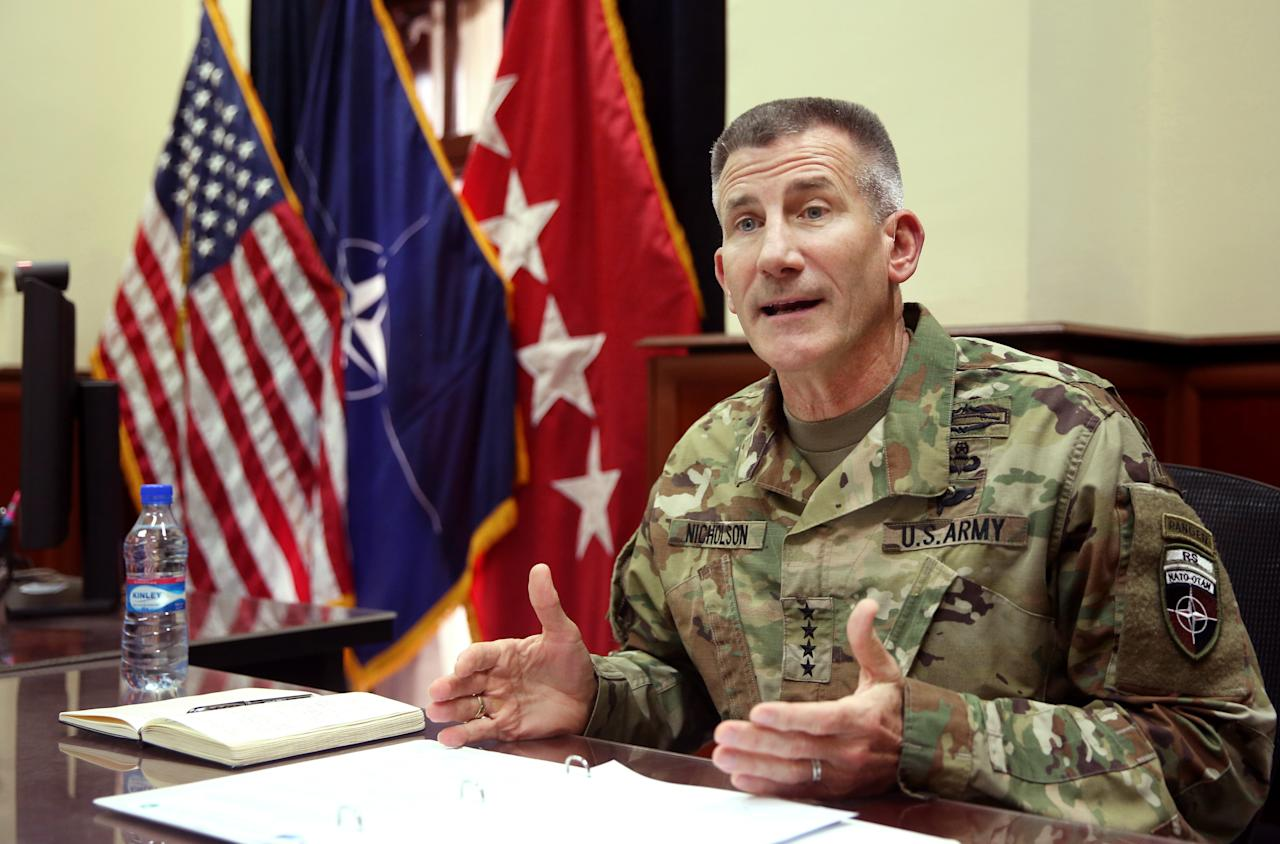 <p> Head of NATO and U.S. forces in Afghanistan, U.S. Army Gen. John W. Nicholson, speaks during an interview with The Associated Press at his office, in Kabul, Afghanistan, Wednesday, July 27, 2016. (AP Photo/Massoud Hossaini) </p>