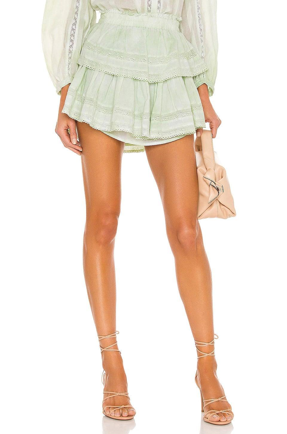 <p>This <span>LoveShackFancy Ruffle Mini Skirt</span> ($225) comes in the prettiest shade of green.</p>