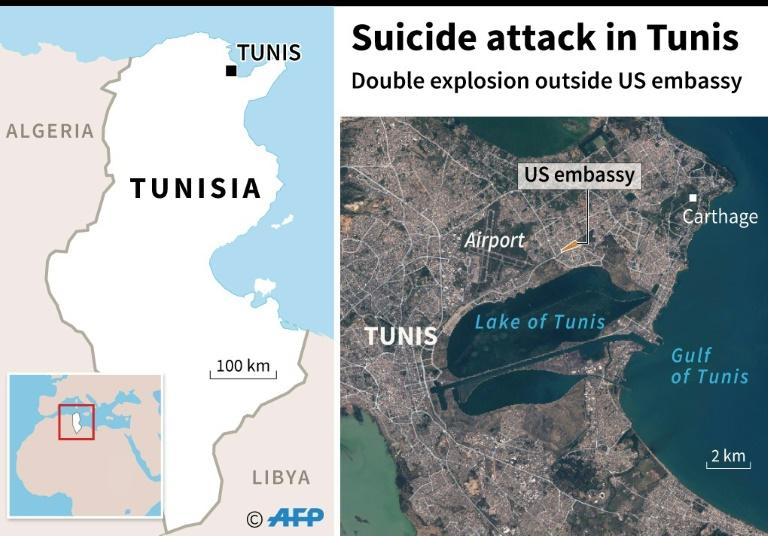 Map of central Tunis locating double explosion outside US embassy