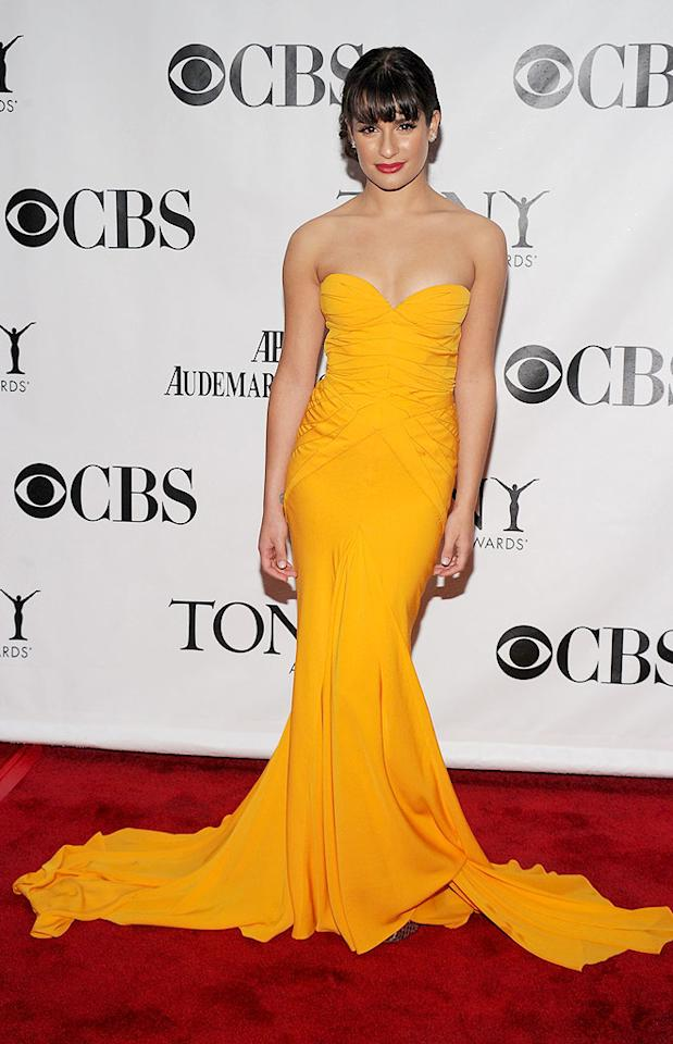 "Despite the rainy weather, ""Glee's"" Lea Michele was a ray of sunshine thanks to her bold, yellow, form-fitting gown. Bryan Bedder/<a href=""http://www.gettyimages.com/"" target=""new"">GettyImages.com</a> - June 13, 2010"