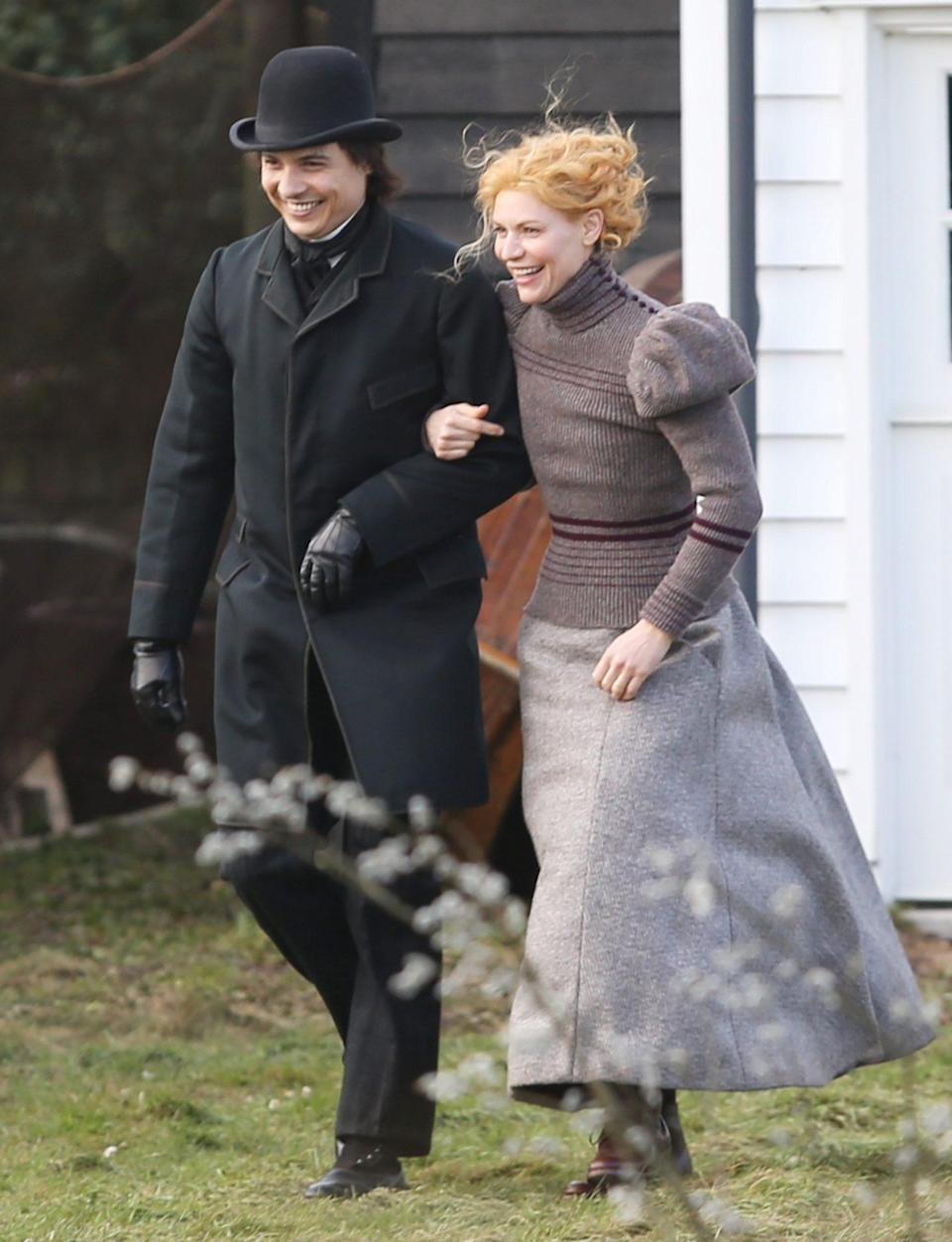 <p>Claire Danes and Frank Dillane are all smiles filming the Victorian-era period piece <i>The Essex Serpent</i> on Tuesday in London. </p>