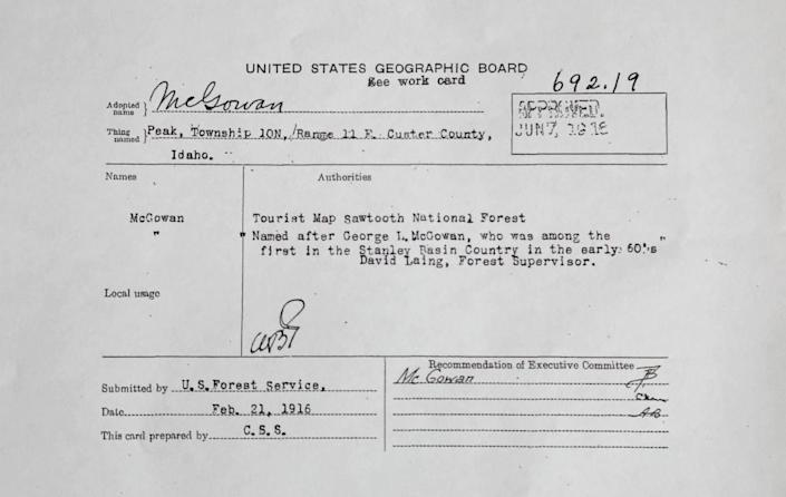 """This U.S. Geographic Board """"decision card"""" from the U.S. Forest Service, dated Feb. 21, 1916, shows that McGowan Peak is named after George L. McGowan, the correct spelling for one of Idaho's most iconic peaks."""