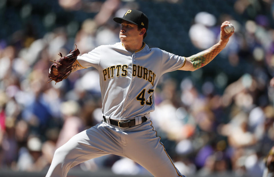 Pittsburgh Pirates starting pitcher Steven Brault works against the Colorado Rockies in the first inning of a baseball game Sunday, Sept. 1, 2019, in Denver. (AP Photo/David Zalubowski)