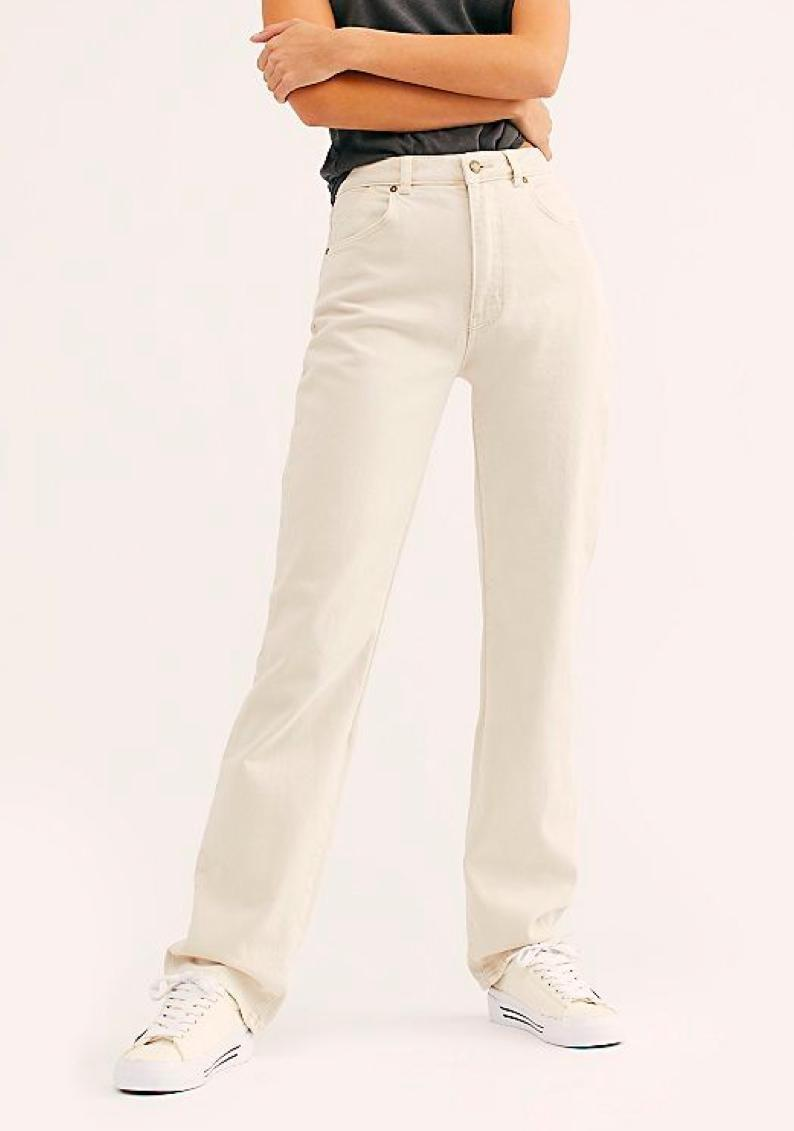 "Labor Day has come and gone but (off) white isn't canceled, and these roomy jeans will drape perfectly over your go-to <a href=""https://www.glamour.com/gallery/best-white-sneakers-for-women-2018?mbid=synd_yahoo_rss"" rel=""nofollow noopener"" target=""_blank"" data-ylk=""slk:sneakers"" class=""link rapid-noclick-resp"">sneakers</a>. $99, Free People. <a href=""https://www.freepeople.com/shop/rollas-classic-straight-jeans/"" rel=""nofollow noopener"" target=""_blank"" data-ylk=""slk:Get it now!"" class=""link rapid-noclick-resp"">Get it now!</a>"
