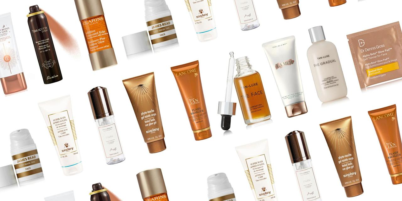 <p>We've all witnessed a bad spray tan before-and yes the orange tint can be a definite deterrent-but sometimes a sun-kissed glow is just too tempting to pass up. Self-tanning products have come along way, with brands churning out streak-free formulas and tweaking their DHA ingredients (which is what safely causes your skin color to darken) so that you can achieve a golden-brown natural-looking tan. And while it feels risky to take the plunge with a product you've never used before, we've taken out the guess-work by selecting the 17 self-tanning products that will best give you a glow. From oils and mousses, to lotions and mists, find out which one works for your summer bronze needs-without the damage. </p>