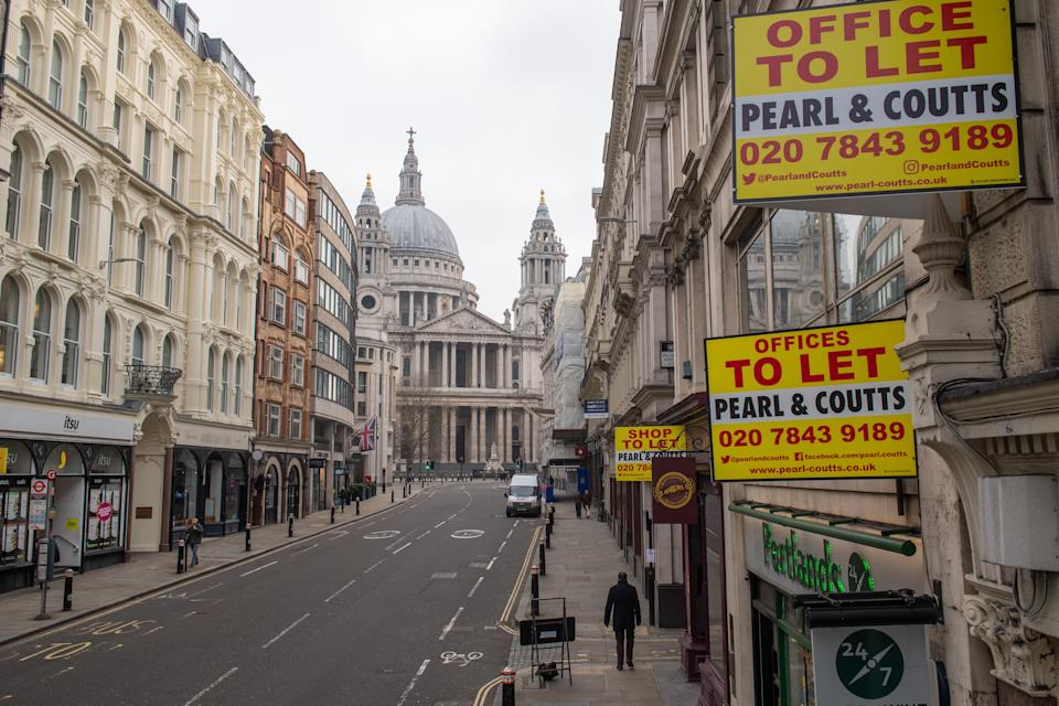 'To let' signs outside offices on Ludgate Hill, near St Paul's Cathedral, in central London, during England's third national lockdown to curb the spread of coronavirus. Under increased measures people can no longer leave their home without a reasonable excuse and schools must shut for most pupils. (Photo by Dominic Lipinski/PA Images via Getty Images)