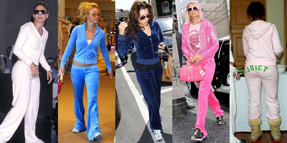 """<p>Spearheading this time of bad sartorial decisions was the ubiquitous velour tracksuit. Everyone and their mother (literally) had a tracksuit to style with a cami underneath and a logo bag in tow. Bonus points if you had a pair with the word """"JUICY"""" across the butt. </p>"""