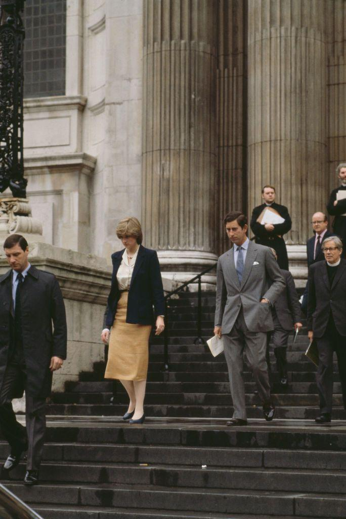 <p>Diana and Charles are seen leaving St. Paul's Cathedral after their first wedding rehearsal on June 12, 1981—47 days before the big day. Hey, if you were getting married in front of the entire world, you'd want lots of practice too.</p>