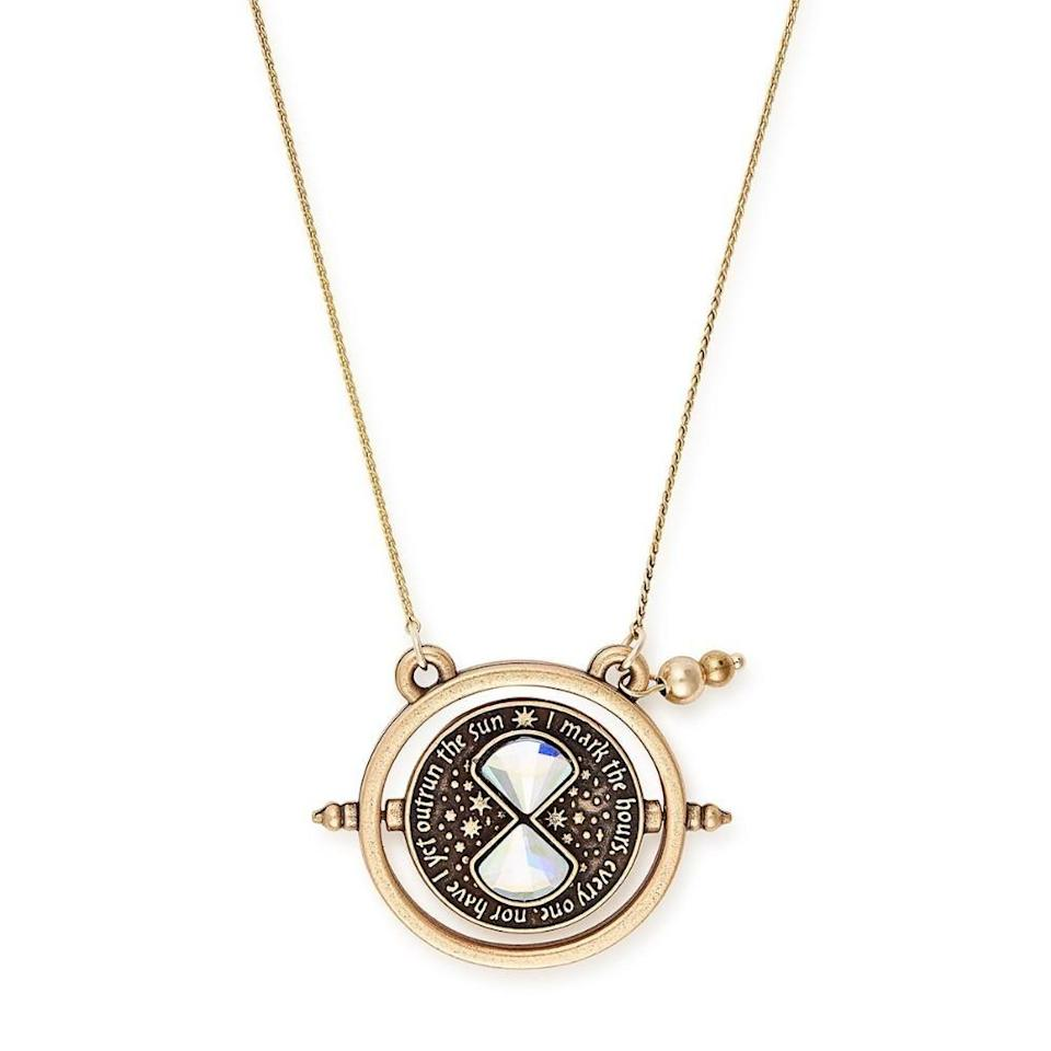 """<p><strong>Alex and Ani</strong></p><p>harrypottershop.com</p><p><strong>$58.95</strong></p><p><a href=""""https://go.redirectingat.com?id=74968X1596630&url=https%3A%2F%2Fwww.harrypottershop.com%2Fproducts%2Falex-and-ani-harry-potter-time-turner-necklace&sref=https%3A%2F%2Fwww.housebeautiful.com%2Fshopping%2Fg32479102%2Fharry-potter-gifts%2F"""" rel=""""nofollow noopener"""" target=""""_blank"""" data-ylk=""""slk:BUY NOW"""" class=""""link rapid-noclick-resp"""">BUY NOW</a></p><p>Channel your inner Hermione with this time turner-inspired necklace. </p>"""