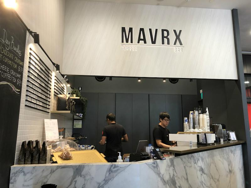 MAVRX coffee bar at Great World at office tower 2, near the mall's entrance. Photo: Coconuts Media