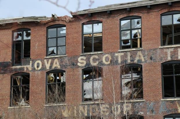 Built as a cotton mill in Windsor, N.S., in 1881, the brick relic has started caving in on itself. (Jeorge Sadi/CBC - image credit)