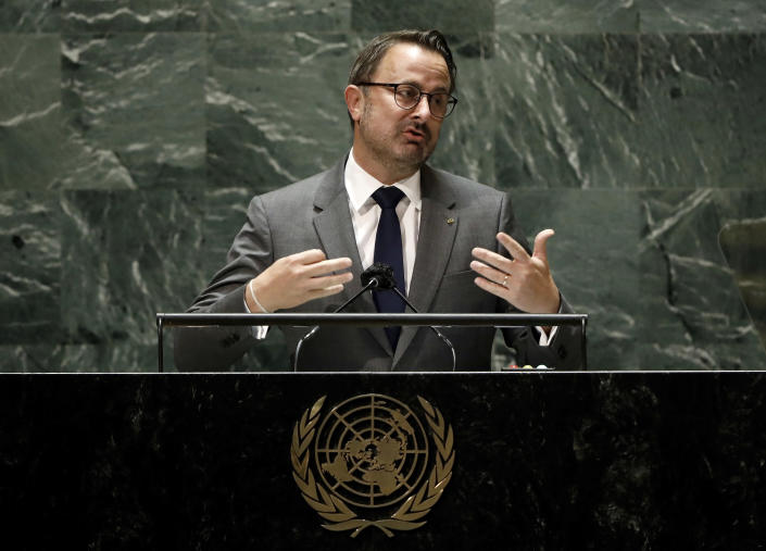 Prime Minister of Luxembourg, Xavier Bettel, addresses the 76th session of the United Nations General Assembly, Friday Sept. 24, 2021, at UN headquarters. (Peter Foley/Pool Photo via AP)