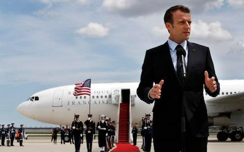 Emmanuel Macron arrives in America, becoming the first world leader to enjoy a US state visit under Donald Trump - Credit: AP Photo/Jacquelyn Martin