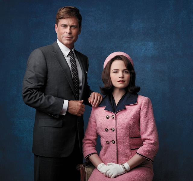 "This image released by National Geographic Channels shows Rob Lowe as President John F. Kennedy, left, and Ginnifer Goodwin as Jackie Kennedy in ""Killing Kennedy."" The film, based on Fox News host Bill O'Reilly and Martin Dugard's book by the same name, chronicles the events that culminated with the assassination of the nation's 35th president on Nov. 22, 1963. It airs Sunday on National Geographic Channel. ??(AP Photo/National Geographic Channels, Kent Eanes)"