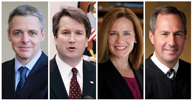 Federal appeals court judges Raymond Kethledge, Brett Kavanaugh, Amy Coney Barrett and Thomas Hardiman are being considered by President Trump for the U.S. Supreme Court. (Photos: Reuters/Files)