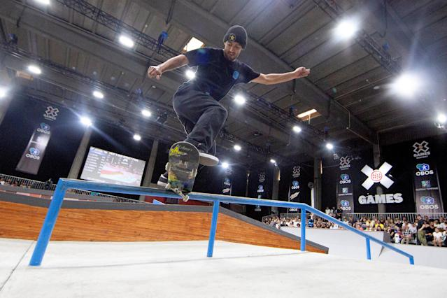 Kelvin Hoefler of Brazil attends the X Games Men's Skateboard Street final in Oslo, Norway May 20, 2018. NTB Scanpix/Fredrik Hagen/via REUTERS ATTENTION EDITORS - THIS IMAGE WAS PROVIDED BY A THIRD PARTY. NORWAY OUT. NO COMMERCIAL OR EDITORIAL SALES IN NORWAY.