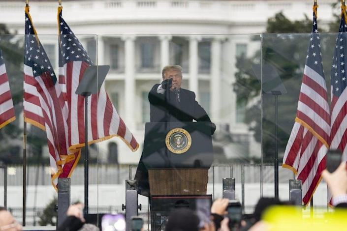 President Donald Trump speaks during a rally protesting the electoral college certification of Joe Biden as President in Washington. (AP Photo/Evan Vucci, File)