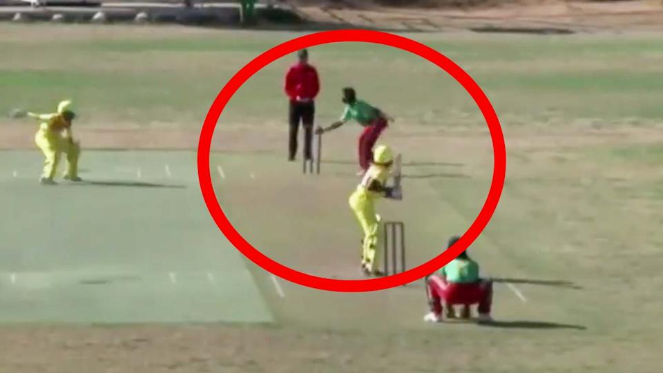Cameroon bowler Maeva Douma (pictured) running out a batter using the 'mankad' mode of dismissal.