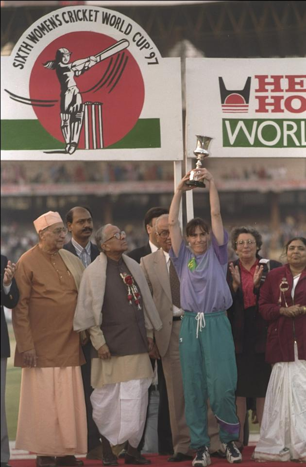 29 Dec 1997:  Belinda Clark of Australia holds aloft the trophy after victory over New Zealand in the Women's Cricket World Cup Final at Eden Gardens in Calcutta, India. Australia won the match by five wickets. \ Mandatory Credit: Craig Prentis /Allsport