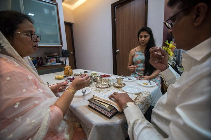 "The Peres Pezarkar family inside their house on September 18, 2020, in Mumbai, India. <p class=""copyright"">Pratik Chorge/Hindustan Times/Getty Images</p>"