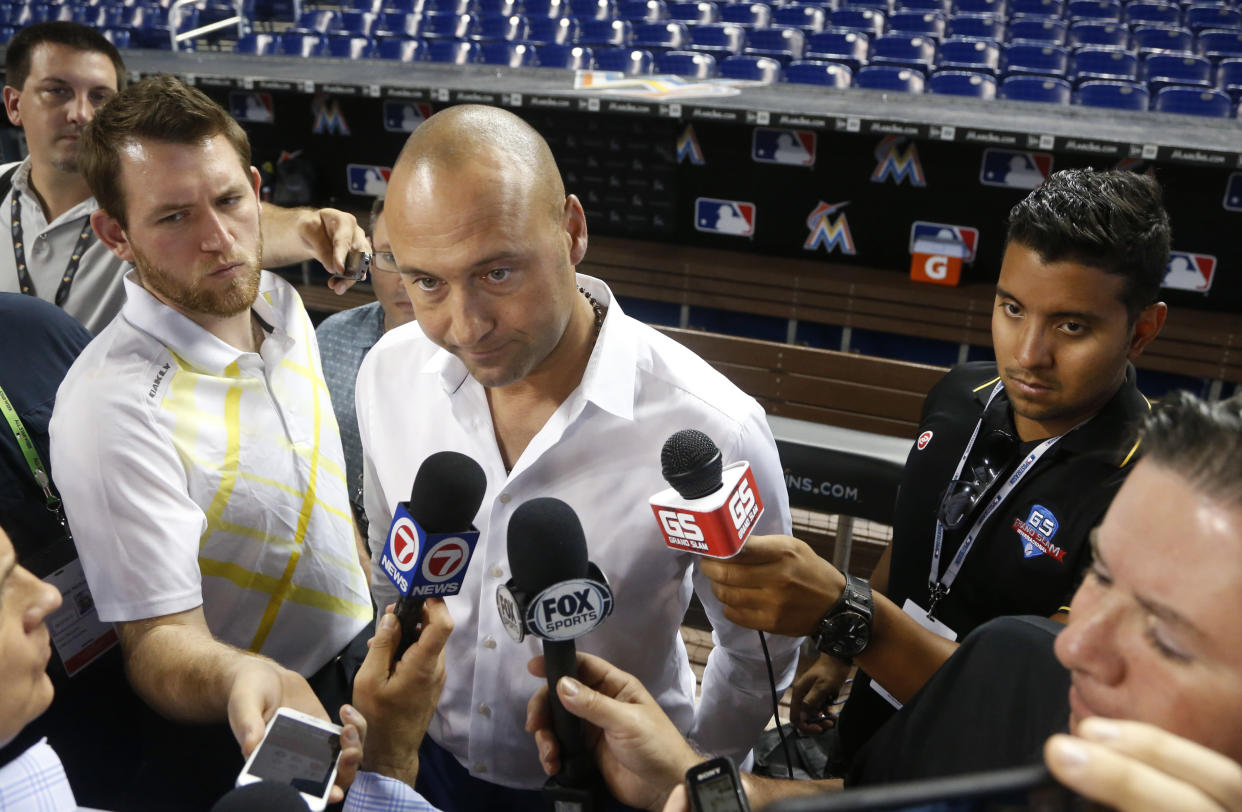 Derek Jeter wants all American-born members of the Marlins to learn some Spanish. (AP Photo/Wilfredo Lee)