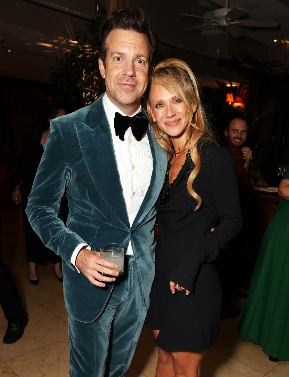 <p><em>Ted Lasso</em>'s Jason Sudeikis and Juno Temple celebrate their show's big night at the Emmy Awards with a small gathering at Sunset Tower in L.A. on Sept. 19.</p>