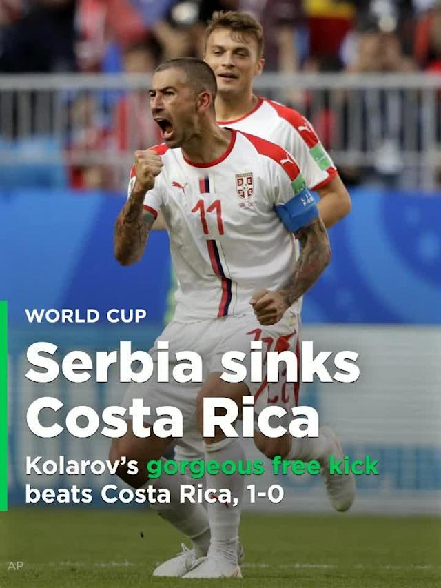 Serbia's Aleksandar Kolarov unleashed his rocket-launcher of a left foot to sink Costa Rica with a free kick goal that gave the Serbs a 1-0 win.