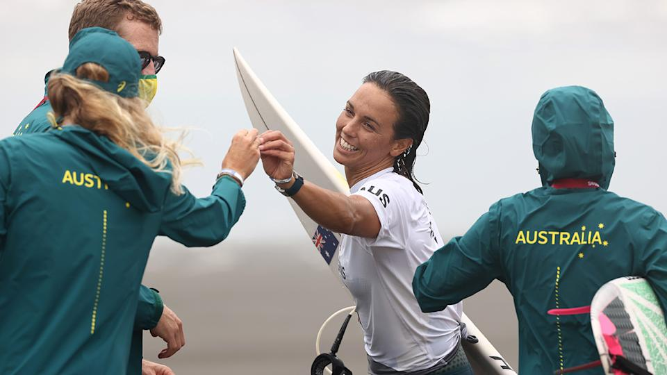 Steph Gilmore, pictured here consoling Sally Fitzgibbons after her loss.
