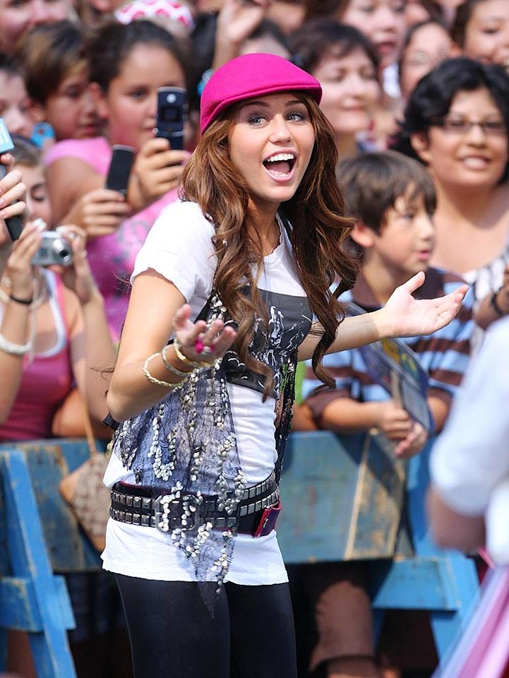 """Miley's latest fashion mishap can be attributed to her repellent pink beret. James Devaney/<a href=""""http://www.wireimage.com"""" target=""""new"""">WireImage.com</a> - July 18, 2008"""