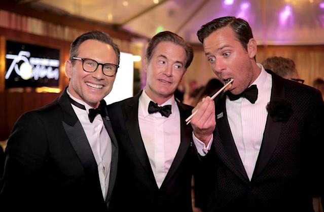 <p>Christian Slater, Kyle McLachlan, and Armie Hammer attend the official viewing and after-party hosted by the Hollywood Foreign Press Association. (Photo: Greg Doherty/Getty Images) </p>