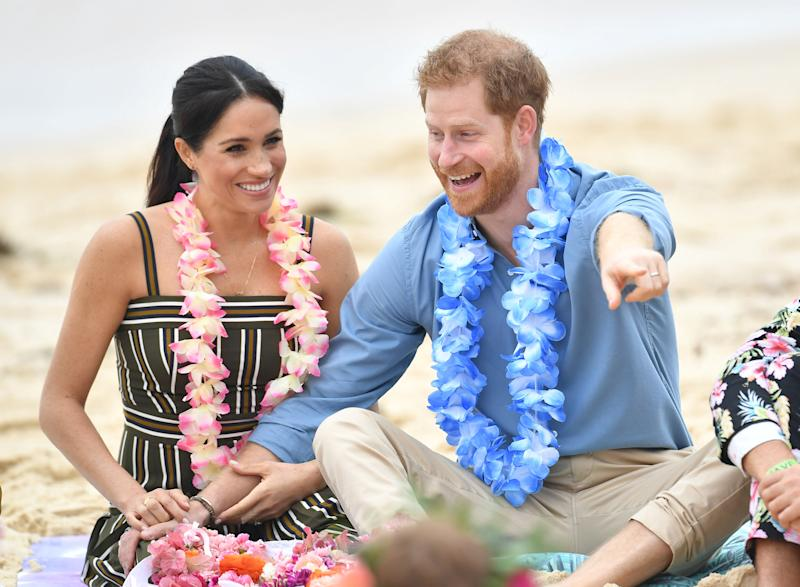 Prince Harry and Meghan Markle take in the sights at Bondi Beach on Friday
