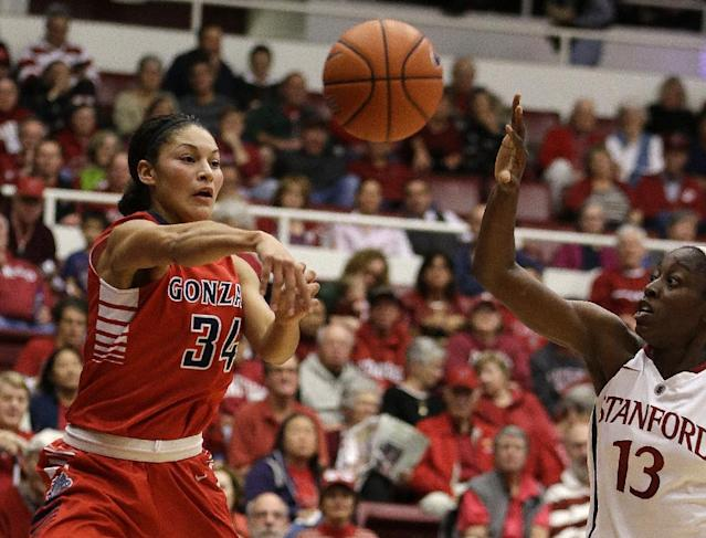 Gonzaga's Jazmine Redmon, left, passes the ball away from Stanford's Chiney Ogwumike (13) during the first half of an NCAA college basketball game on Saturday, Dec. 14, 2013, in Stanford, Calif. (AP Photo/Ben Margot)