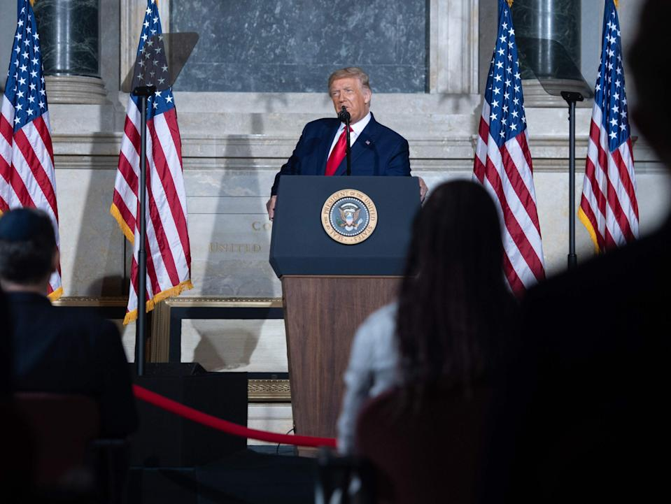 Donald Trump delivered a dark and gloomy speech at the National Archives on Thursday. (AFP via Getty Images)