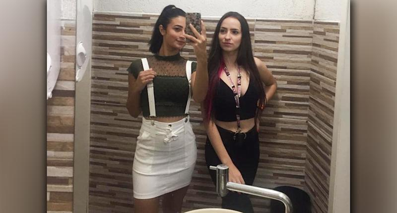 Pictured are Bruna Vellasquez (left) and Monique Medeiros (right) who died after falling from a waterfall.
