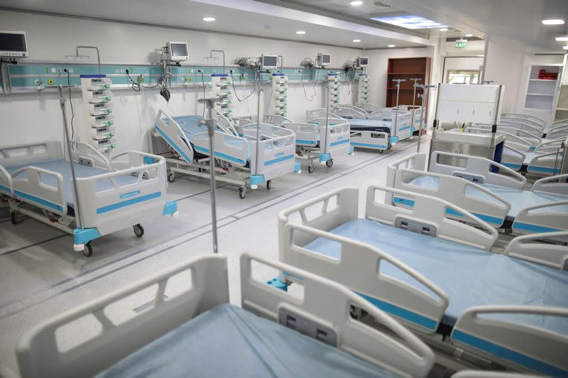 A general view of the mobile intensive care unit (ICU) being prepared to receive COVID-19 patients at Marius Nasta Institute of Pneumology, in Bucharest