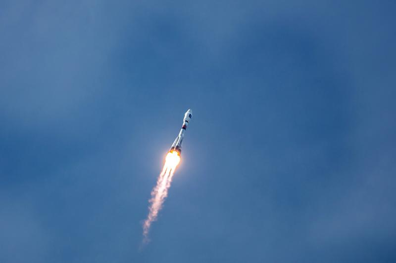 A Soyuz rocket carrying a pair of Galileo In-Orbit Validation satellites lifts off from Europe''s Spaceport in Sinnamary, 12km from Kourou, French Guiana on October 12, 2012