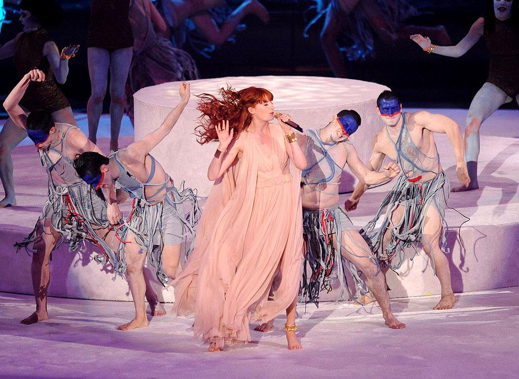 """BEST — Florence and The Machine Do ... Something: We could have done without the tired gospel choir and ironic Busby Berkeley references, but in a room full of singers, she was the only one who could competently sing live. <a href=""""http://www.televisionwithoutpity.com/show/award_shows/mtv_vmas_best_and_worst_moment.php?__source=tw