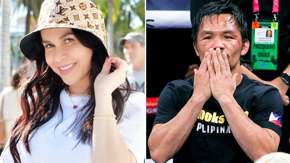Pictured right, Manny Pacquiao blow a kiss and his wife Jinkee poses for a photo.