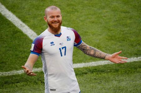 Soccer Football - World Cup - Group D - Argentina vs Iceland - Spartak Stadium, Moscow, Russia - June 16, 2018 Iceland's Aron Gunnarsson celebrates after the match REUTERS/Christian Hartmann