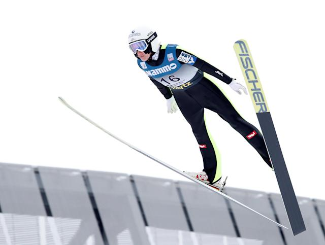 FIS Ski Jumping World Cup - Women's HS134 - Holmenkollen, Norway - March 11, 2018. Daniela Irascho-Stolz of Austria competes. NTB Scanpix/Terje Bendiksby via REUTERS ATTENTION EDITORS - THIS IMAGE WAS PROVIDED BY A THIRD PARTY. NORWAY OUT. NO COMMERCIAL OR EDITORIAL SALES IN NORWAY.