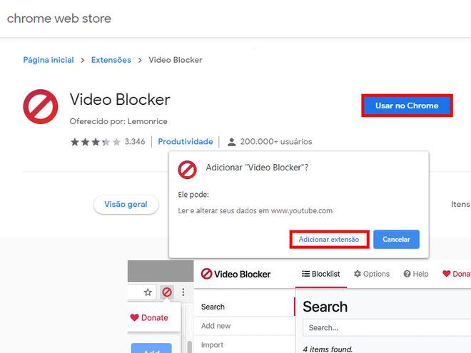 "Instale no seu Google Chrome a extensão ""Video Blocker"" (Captura de tela: Matheus Bigogno)"