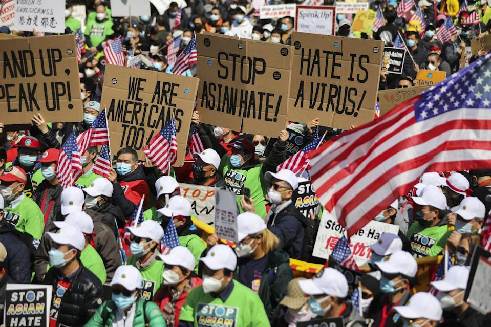 Marchers in New York protest against anti-Asian hate crimes on April 4. Photo: Xinhua