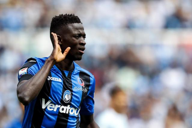 Atalanta's Musa Barrow celebrates after scoring his side's first goal during the Italian Serie A soccer match between Lazio and Atalanta at the Olympic stadium in Rome, Sunday, May 6, 2018. (Angelo Carconi/ANSA via AP)