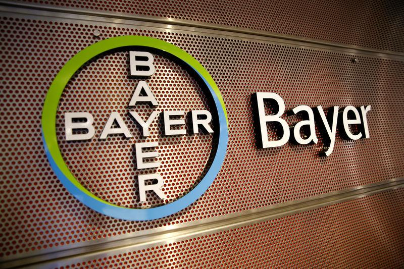 FILE PHOTO: Logo of Bayer AG is pictured at the annual results news conference of the German drugmaker in Leverkusen