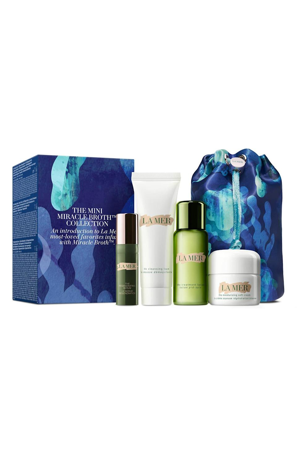 "<h3>La Mer The Mini Miracle Broth Collection</h3> <br>A little La Mer will go a long way to make your mom's skin look and feel incredible. (She's been warned – the stuff can be hard to quit.) <br><br><strong>La Mer</strong> The Mini Miracle Broth™ Collection, $, available at <a href=""https://go.skimresources.com/?id=30283X879131&url=https%3A%2F%2Fshop.nordstrom.com%2Fs%2Fla-mer-the-mini-miracle-broth-collection-nordstrom-exclusive-208-value%2F5522982%2Ffull"" rel=""nofollow noopener"" target=""_blank"" data-ylk=""slk:Nordstrom"" class=""link rapid-noclick-resp"">Nordstrom</a><br>"