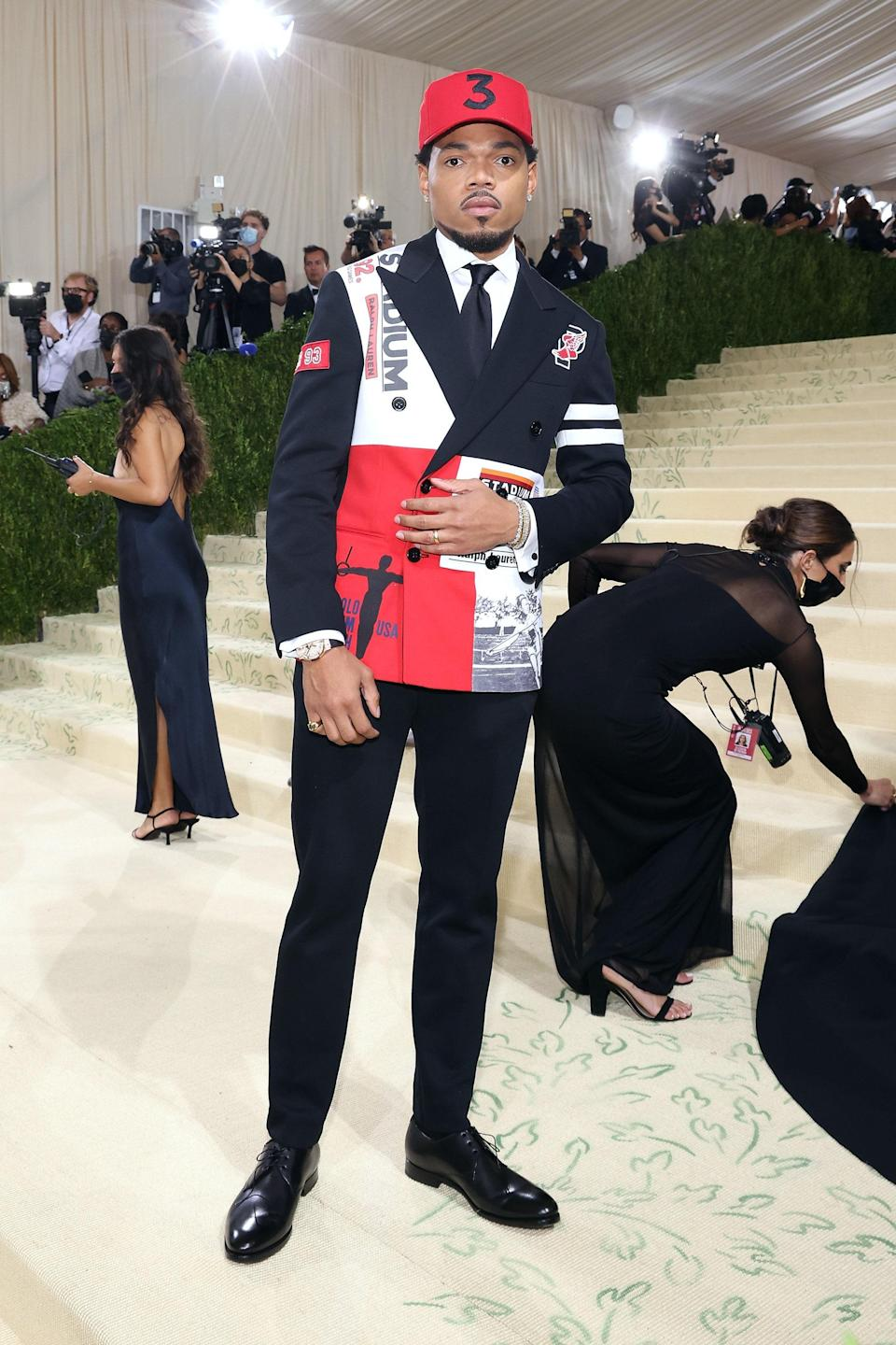 Chance the Rapper gave an Americana spin to the classic suit in Ralph Lauren. His suit jacket was inspired by the brand's U.S. Olympics-themed Stadium collection from the '90s.