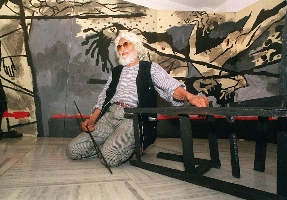 Maqbool Fida Husain was Indian most famous and well known artists in modern times. He was also known as one of the most controversial painters because he often depicted traditional deities in non-traditional ways, including nude portrayals.