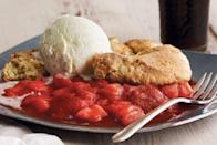 """Slow-and-steady cooking temps bring out the most complex, surprising sweetness from fruit—that's what makes this dessert so exceptional. <a href=""""https://www.epicurious.com/recipes/food/views/lemony-strawberry-rhubarb-cobbler-51152200?mbid=synd_yahoo_rss"""" rel=""""nofollow noopener"""" target=""""_blank"""" data-ylk=""""slk:See recipe."""" class=""""link rapid-noclick-resp"""">See recipe.</a>"""